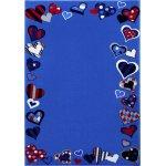 Covor copii & tineret Just Hearts albastru 80x150