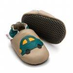Pantofi cu talpa moale Liliputi cu crampoane antialunecare Green Car L 14 cm