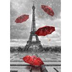 Puzzle Gold puzzle Eiffel Tower with Flying Umbrellas 1.000 piese alb-negru