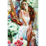 Puzzle Gold puzzle Girl with Peaches and Saxophone 1500 piese