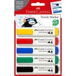 Set 5 markere textile standard Faber-Castell