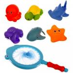 Set jucarii de baie cu plasa de pescuit Iso Trade