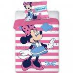 Set lenjerie pat copii Minnie Stripes 100x135 + 40x60 SunCity