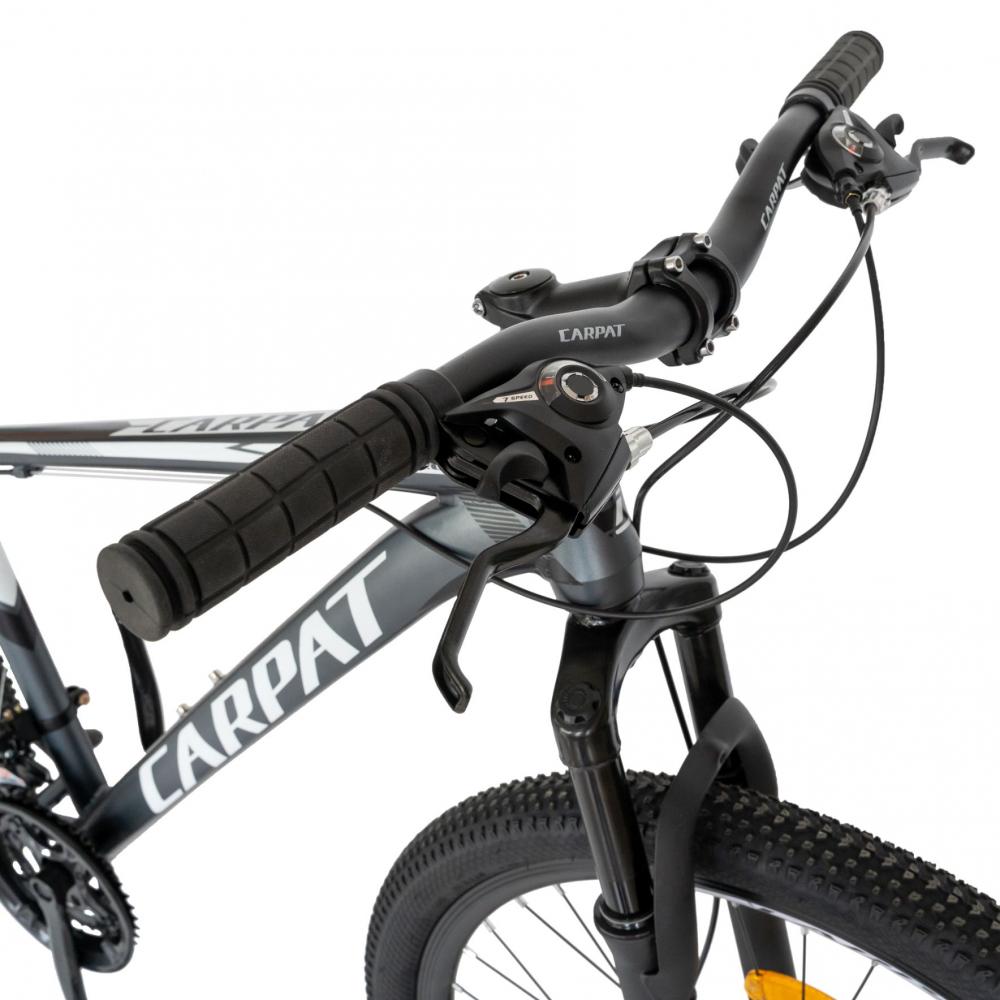 Bicicleta MTB-HT Shimano Tourney TZ500D 26 inch Carpat CSC2658C gri cu design albnegru