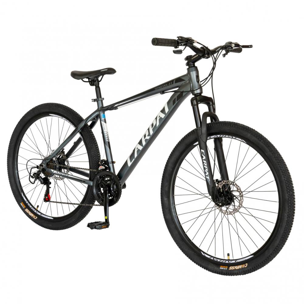 Bicicleta MTB-HT Shimano Tourney TZ500D 27.5 inch Carpat CSC2758C gri cu design albnegru