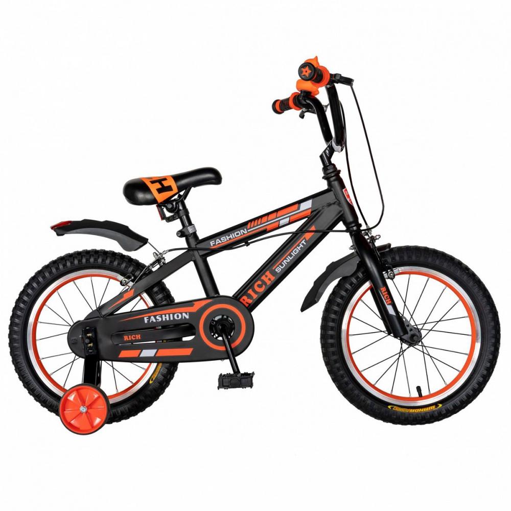 Bicicleta Rich Baby T2002C roata 20 C-Brake roti ajutatoare 7-10 ani negruportocaliu