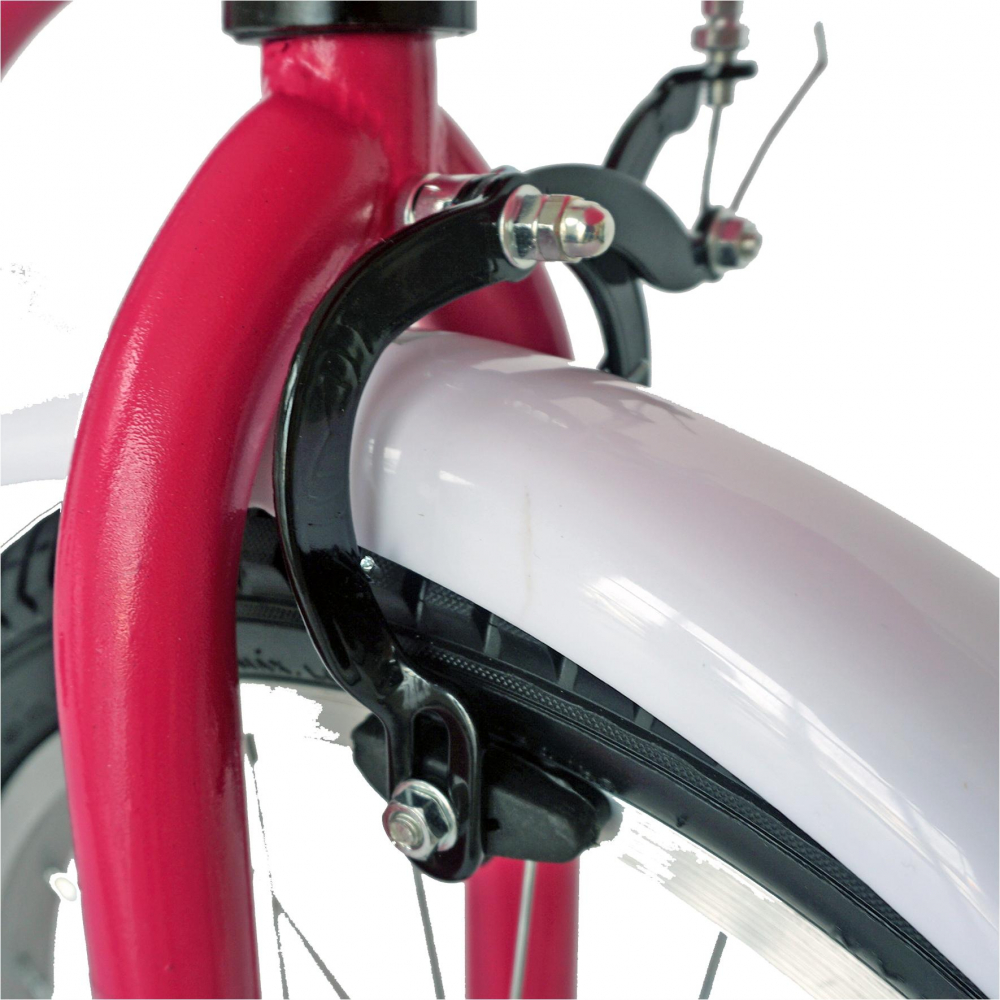 Bicicleta copii 18 Velors V1802A fucsiaalb si roti ajutatoare