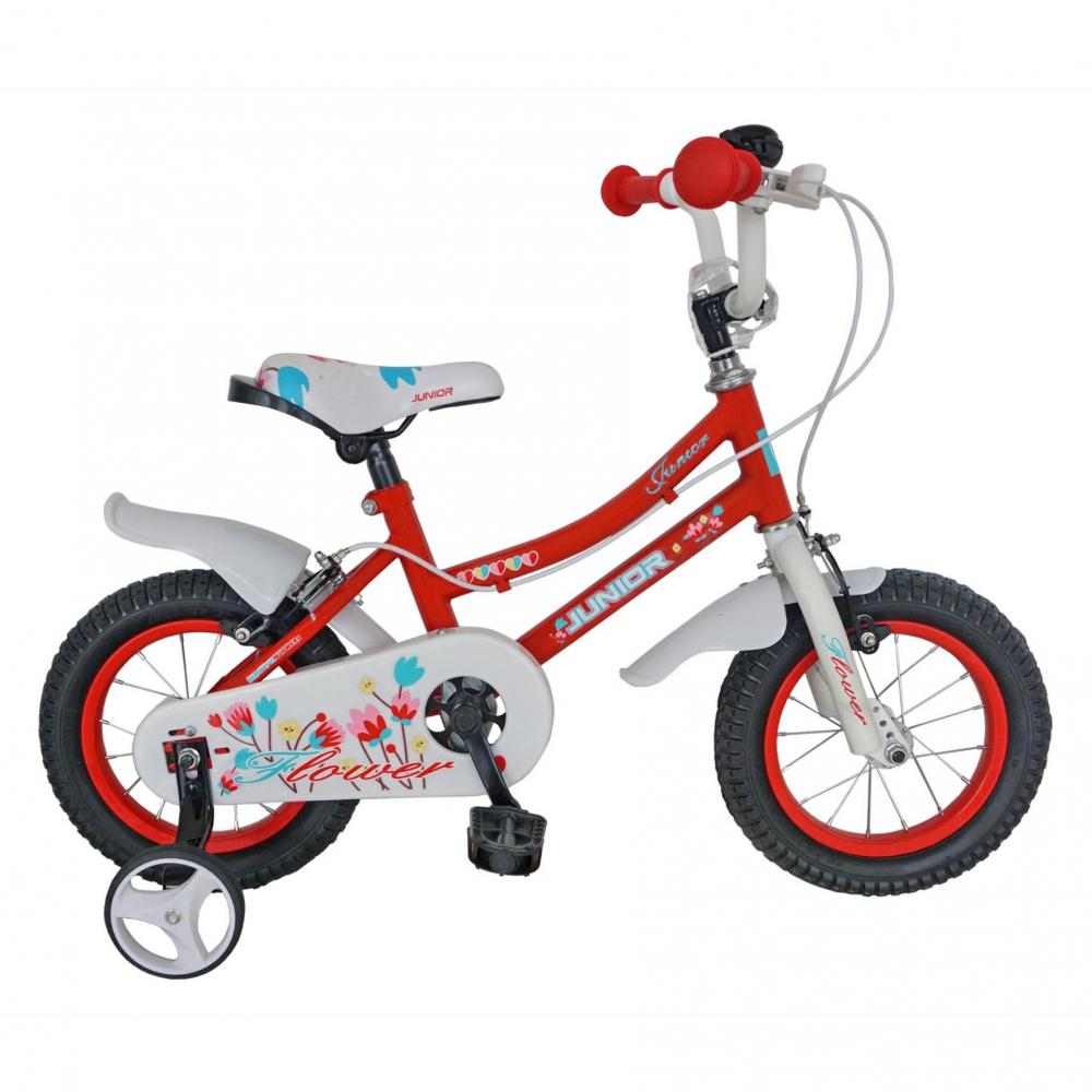Bicicleta copii Junior 12 J1202A cadru otel culoare rosu alb varsta 2-4 ani