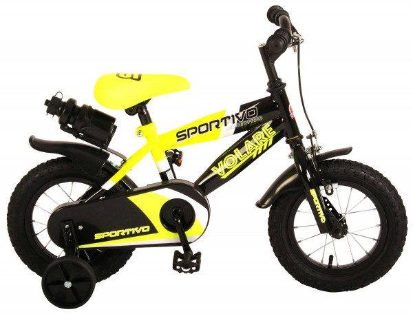 Bicicleta copii Volare Sportivo Galben Neon 12 inch cu 2 frane de mana si sticla apa