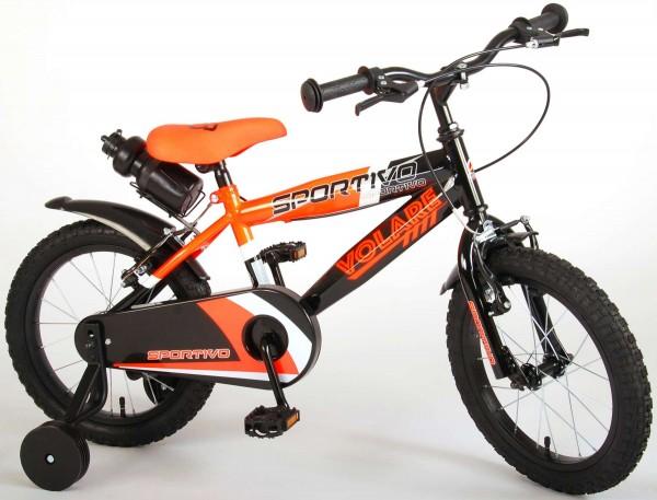 Bicicleta copii Volare Sportivo Portocalie 16 inch cu 2 frane de mana si sticla apa