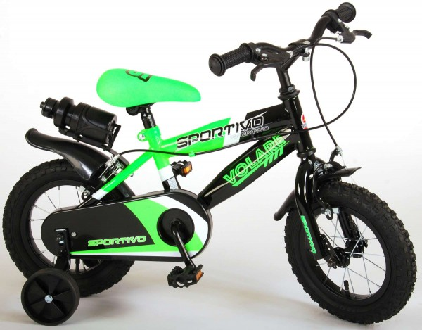 Bicicleta copii Volare Sportivo Verde 12 inch cu 2 frane de mana si sticla apa