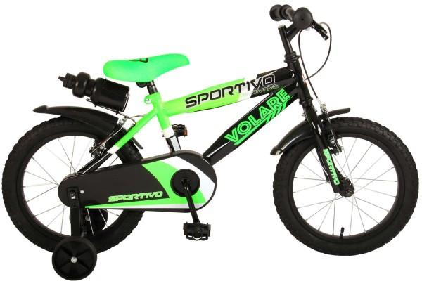 Bicicleta copii Volare Sportivo Verde 16 inch cu 2 frane de mana si sticla apa