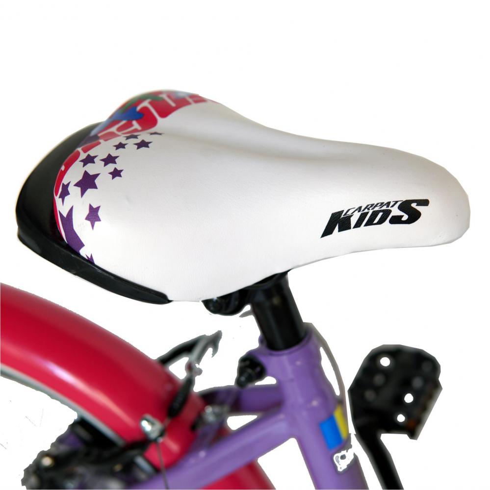 Bicicleta fete Carpat Princess C1808C roata 18 V-Brake roti ajutatoare 5-7 ani violetalb