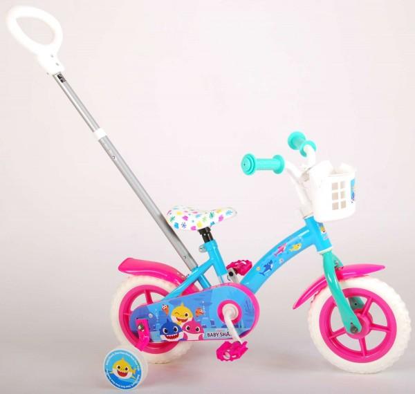 Bicicleta pentru copii Volare Baby Shark 10 inch cu maner parental si roti ajutatoare