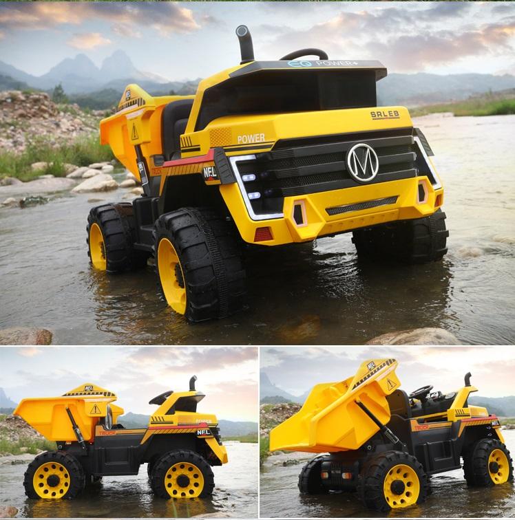 Camion electric 4x4 cu scaun din piele Nichiduta Power Yellow - 2