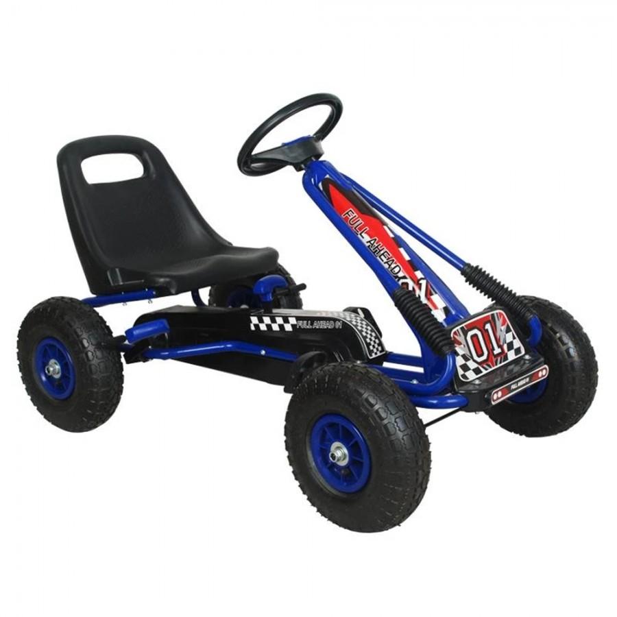 Kart M-Toys cu pedale si volan albastru