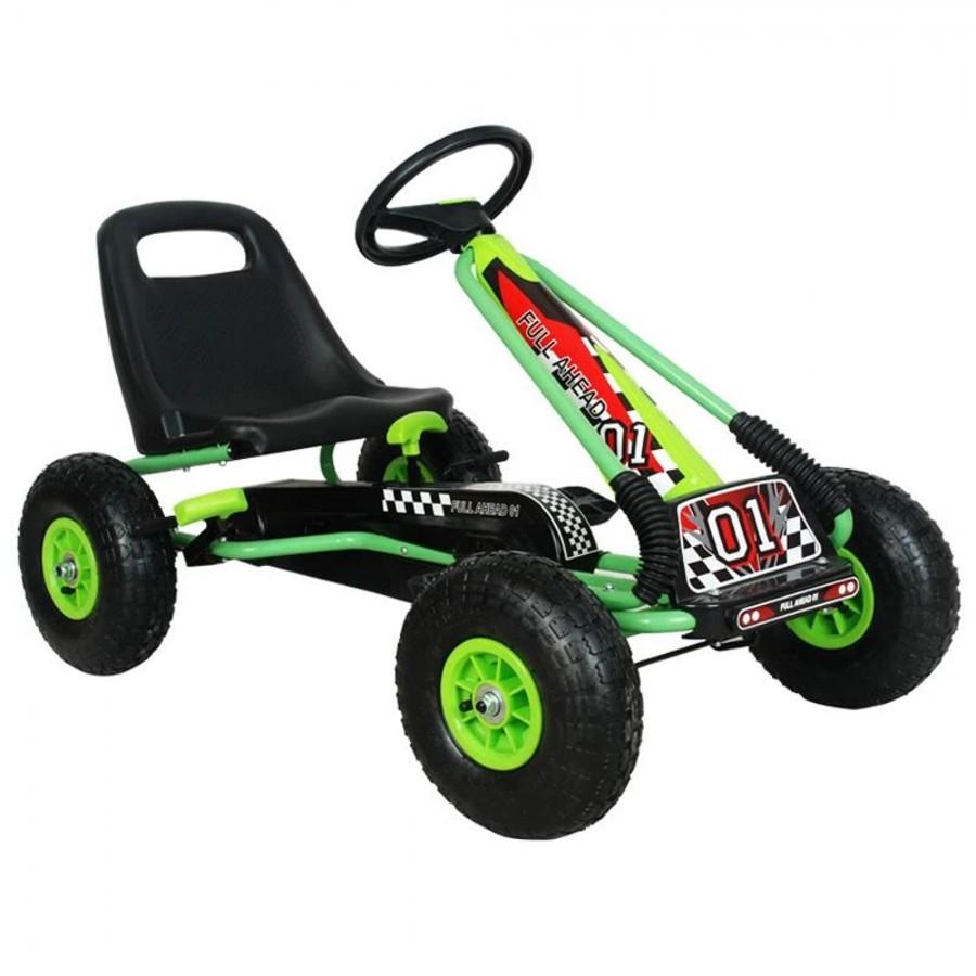 Kart M-Toys cu pedale si volan verde
