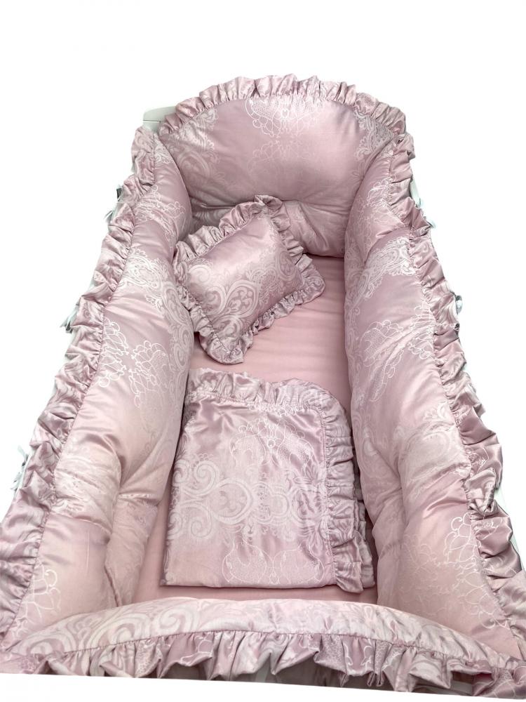 Lenjerie cu aparatori si baldachin cu suport 120x60 cm Lux din Jackard roz pudra