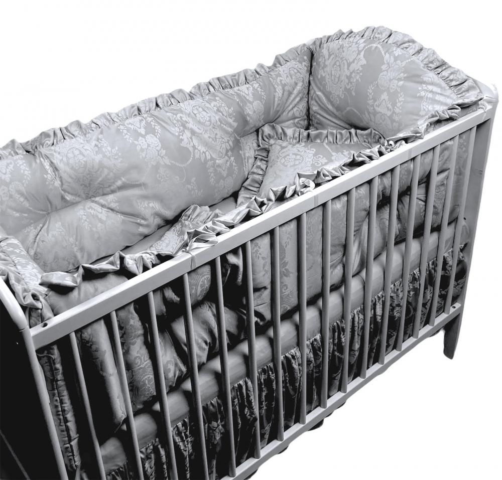 Lenjerie de pat cu aparatori super groase 120x60 cm Lux din Jackard gri