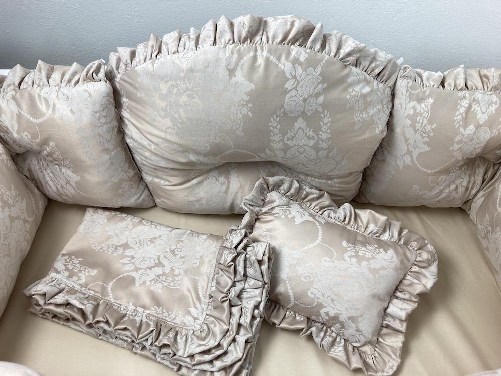 Lenjerie de pat cu aparatori super groase 140x70 cm Lux din Jackard bej
