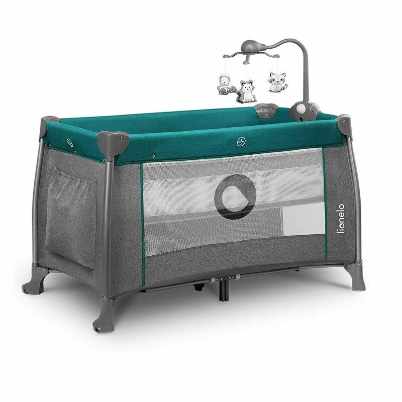 Patut pliant Thomi 120 x 60 cm nivel intermediar, carusel, masuta de infasat Green Turquoise