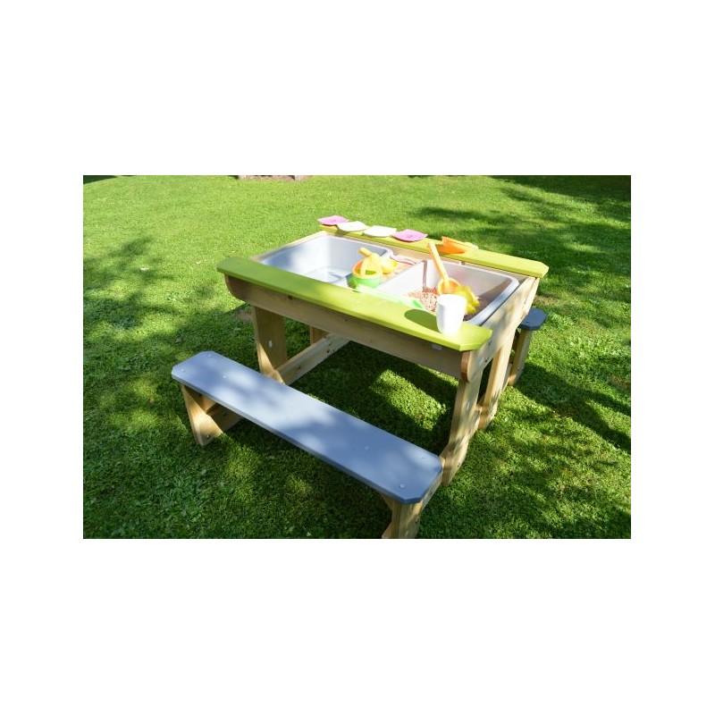 Masa de picnic senzoriala T2 Deluxe cu bancute si loc pentru nisip si apa Wendi Toys