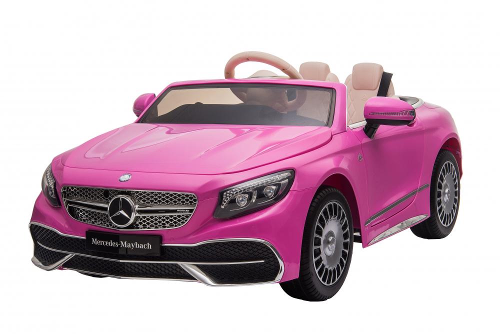 Masinuta electrica cu roti EVA si scaun din piele Mercedes Maybach S650 Cabriolet Pink - 6
