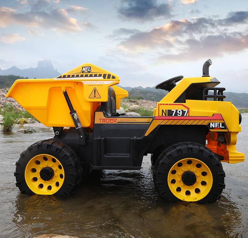 Camion electric 4x4 Nichiduta cu 2 locuri si scaun din piele Dump Truck Yellow - 1
