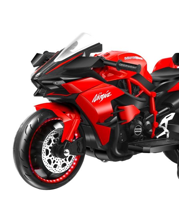 Motocicleta electrica cu roti cu lumini LED si scaun din piele Nichiduta Motocross Red