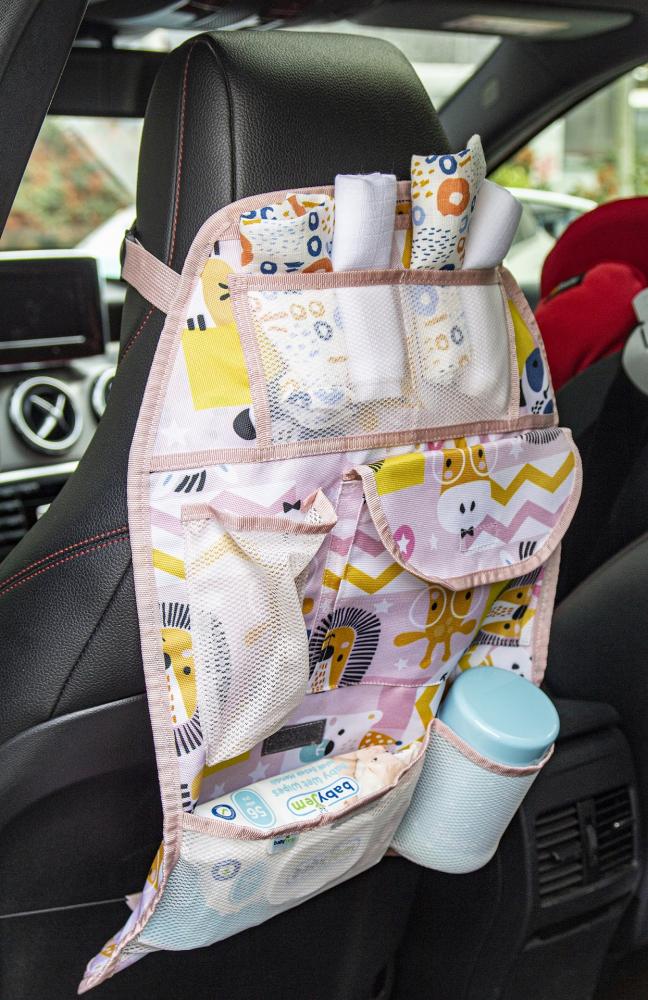 Organizator BabyJem pentru scaun auto Jungle Pink