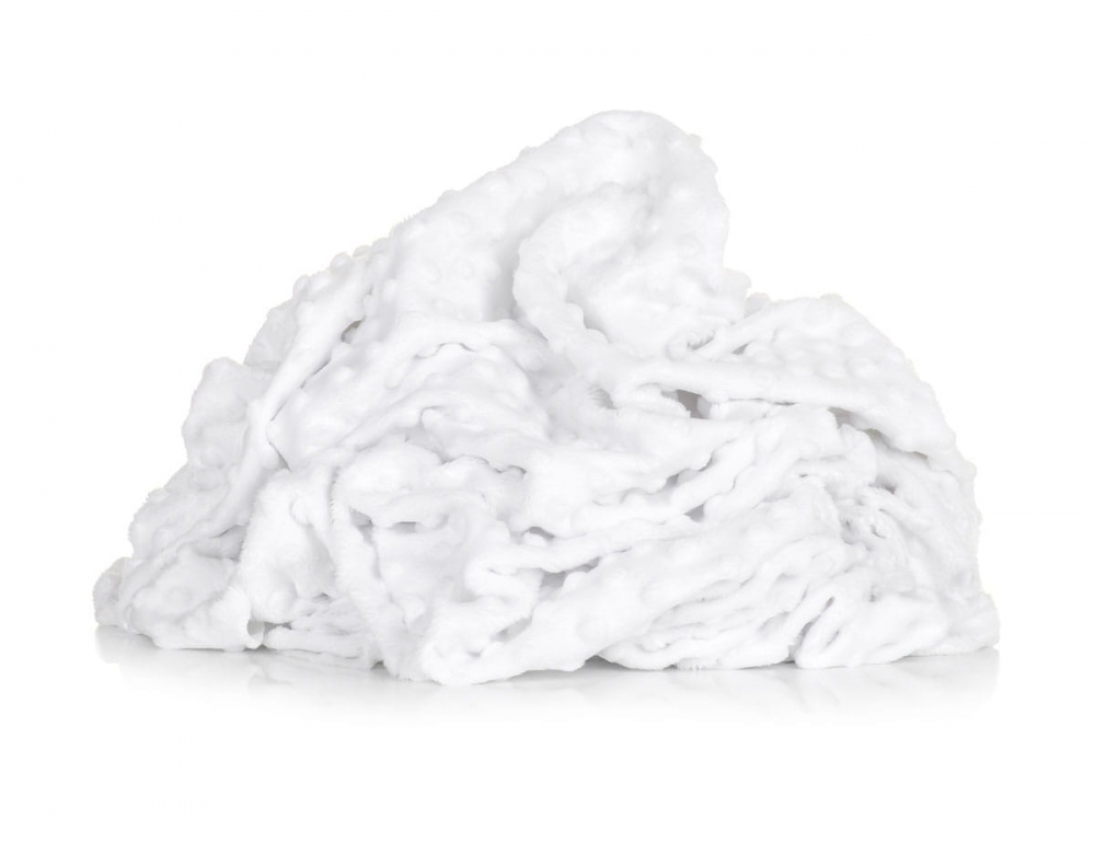 Paturica groasa detasabila model baloane si plus minky alb 75x100 cm