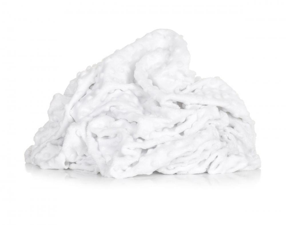 Paturica groasa nedetasabila model baloane si plus minky alb 75x100 cm