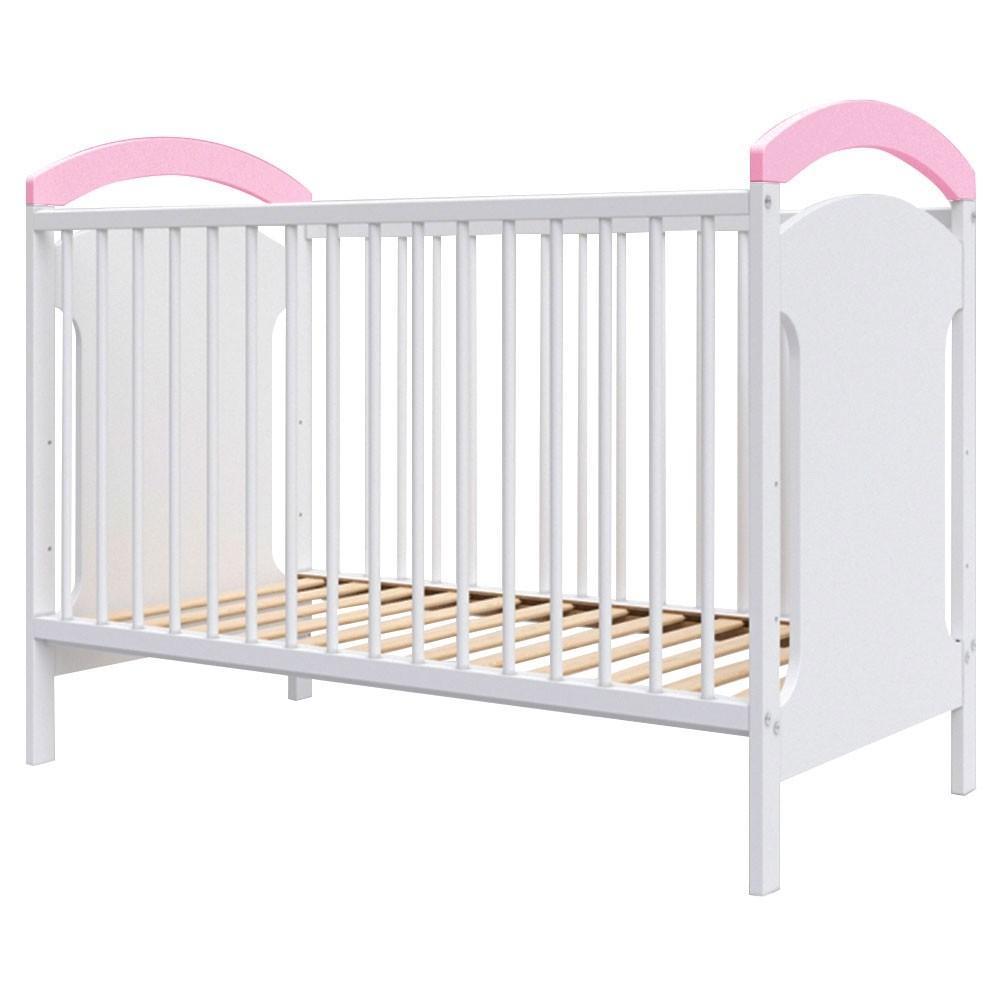 Patut copii din lemn Anita 120x60 cm alb-roz