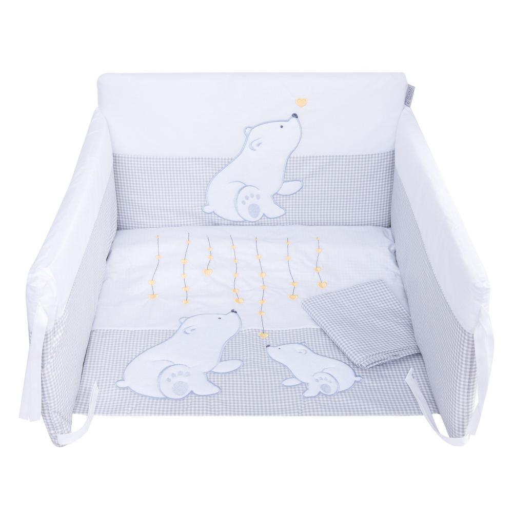 Set lenjerie din bumbac cu protectie laterala pentru pat bebelusi Bear Heart Grey 120x60 cm