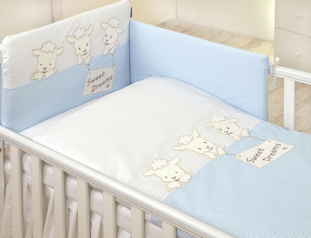 Set lenjerie din bumbac cu protectie laterala pentru pat bebelusi Sweet Dreams Blue 120x60 cm