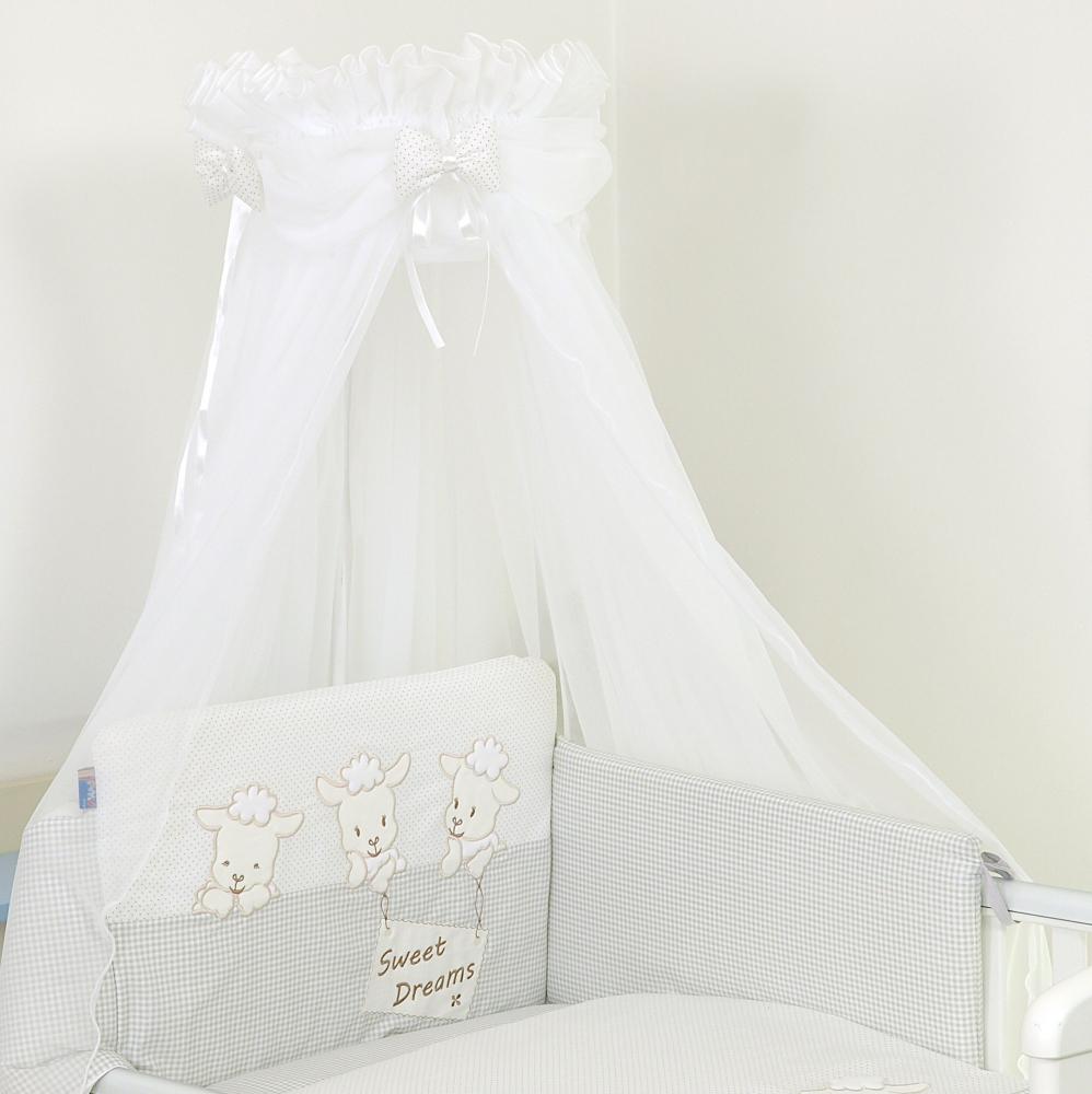Set lenjerie din bumbac cu protectie laterala pentru pat bebelusi Sweet Dreams Grey 120x60 cm