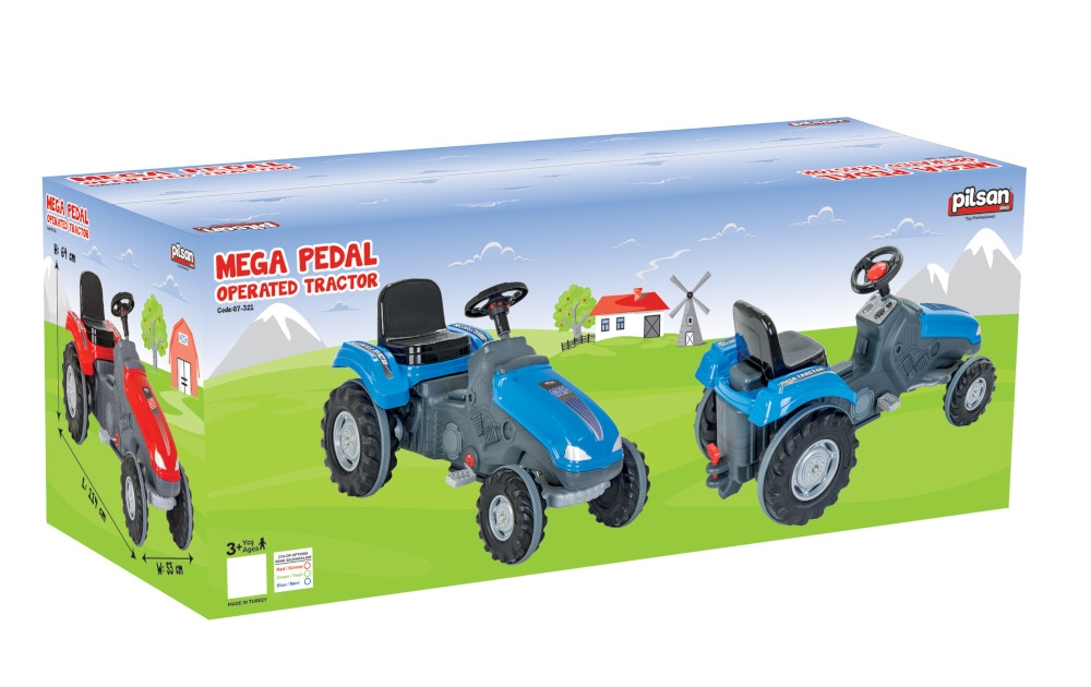 Tractor cu pedale si remorca Pilsan Mega verde - 1