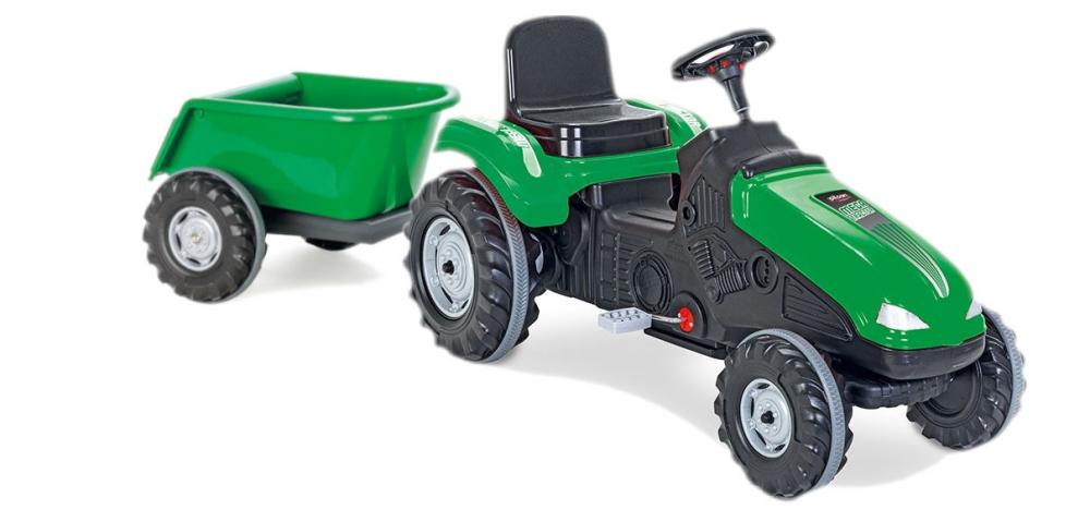 Tractor cu pedale si remorca Pilsan Mega verde - 3