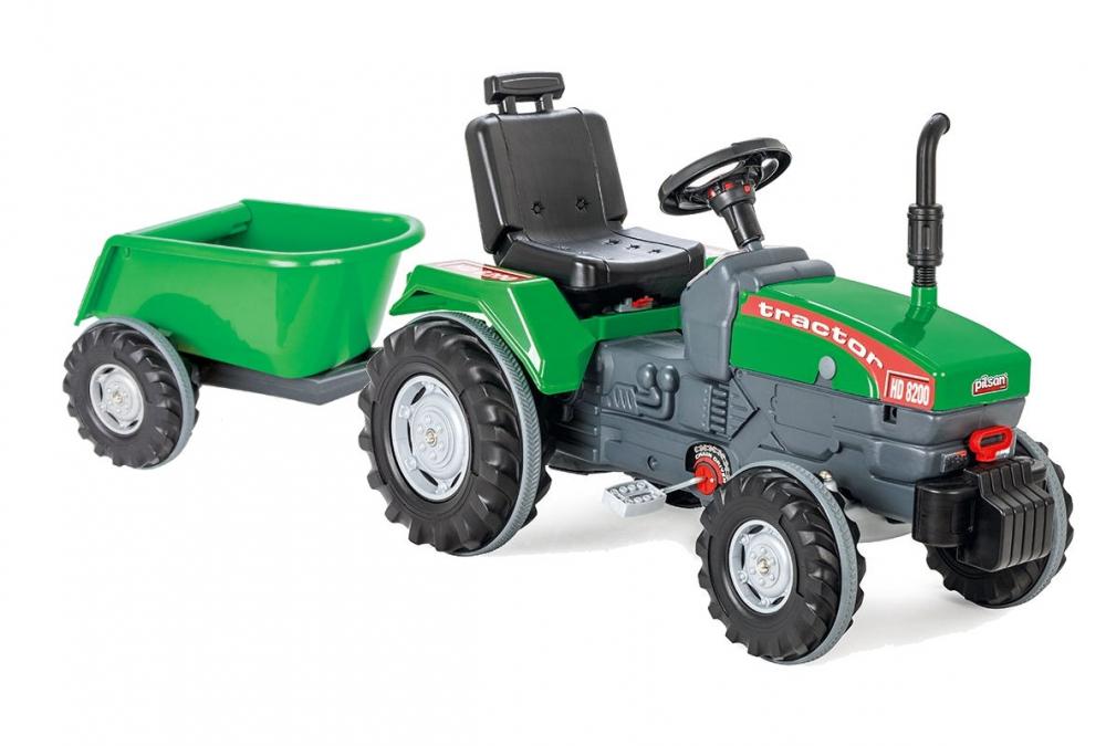 Tractor cu pedale si remorca Pilsan Super verde - 5