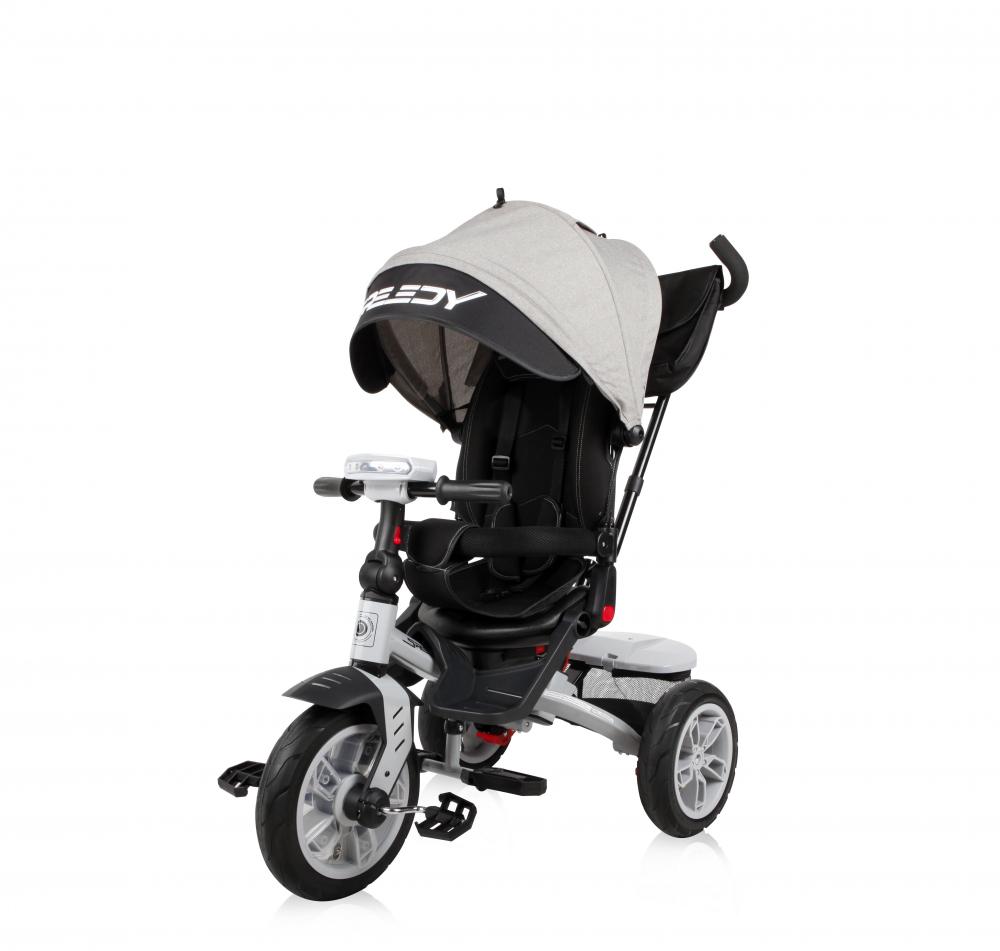 Tricicleta multifunctionala 4 in 1 Speedy Air scaun rotativ Grey Black