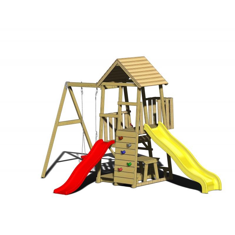 Turn de joaca cu 2 platforme, panou de catarare, 2 tobogane, leagan, masuta de picnic cu bancute si lada de nisip