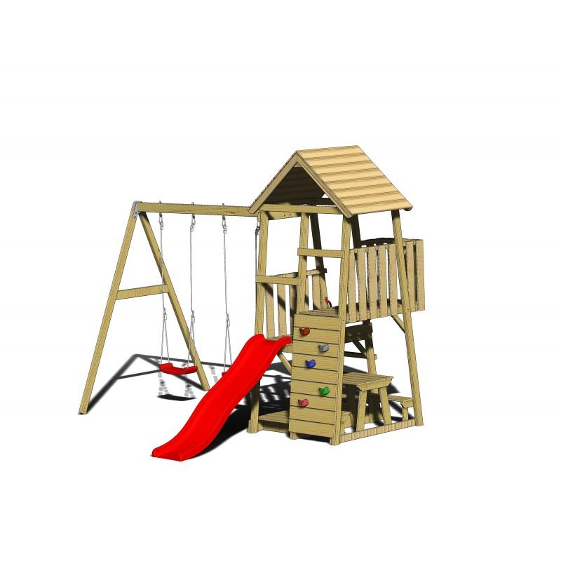 Turn de joaca cu 2 platforme, panou de catarare, tobogan, 2 leagane, masuta de picnic cu bancute si lada de nisip
