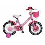 Bicicleta Carpat Princess C1408C 14 V-Brake roti ajutatoare 3-5 ani roz/alb