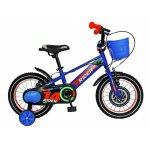 Bicicleta Carpat Rider C1407C 14 V-Brake cu cosulet si roti ajutatoare 3-5 ani albastru/portocaliu