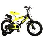 Bicicleta copii Volare Sportivo Galben Neon 14 inch cu frana de mana si sticla apa