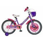 Bicicleta fete Carpat Princess C1808C roata 18 V-Brake roti ajutatoare 5-7 ani violet/alb