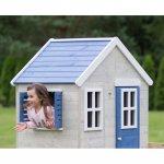 Casuta de gradina My Blue Cottage House cu platforma si tobogan Wendi Toys albastru