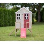 Casuta de gradina My Red Cottage House cu platforma si tobogan Wendi Toys roz