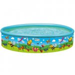 Piscina cu perete rigid si imprimeu Flowers and Friends 155x30 cm
