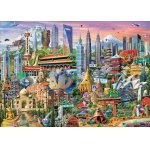 Puzzle Educa Attractions In Asia 1500 piese include lipici